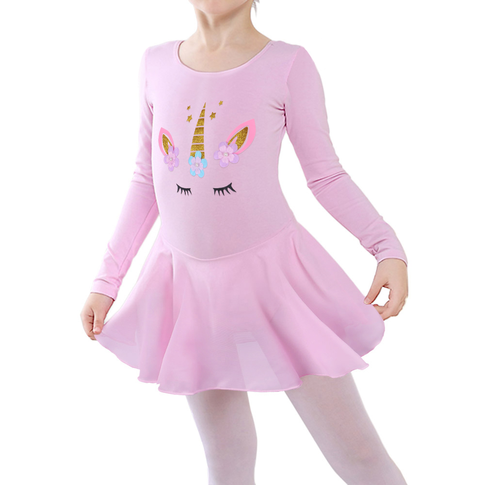 BAOHULU Girls Skirted Ballet Dress Cartoon Dance Leotard Ballet Tutu Dress Children Tulle Long Sleeve Princess Dress For Girls