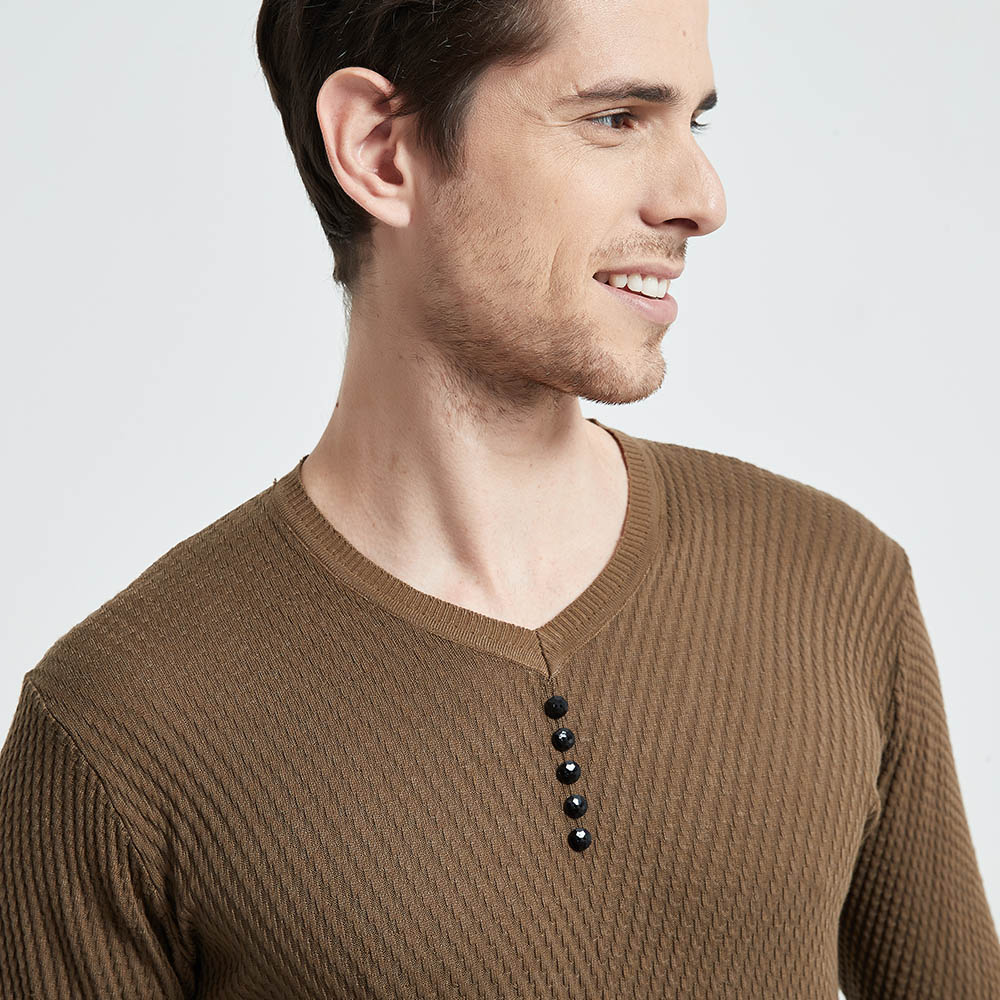 Clearance SaleCOODRONY Sweater Men Shirt Pull V-Neck Knitted Long-Sleeve Cashmere-Wool Autumn Casual