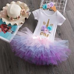 Unicórnio vestido para o bebê recém-nascido vestido da menina crianças floral roupas de festa 1 anos baptismo tutu vestido da criança festa de aniversário vestir-se