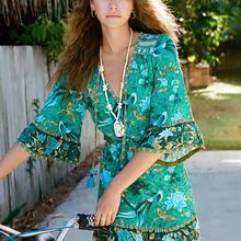 Mini Dress Tassel-Tie Jastie Summer Short Boho Chic Bohemian Vestidos Neck Floral-Print