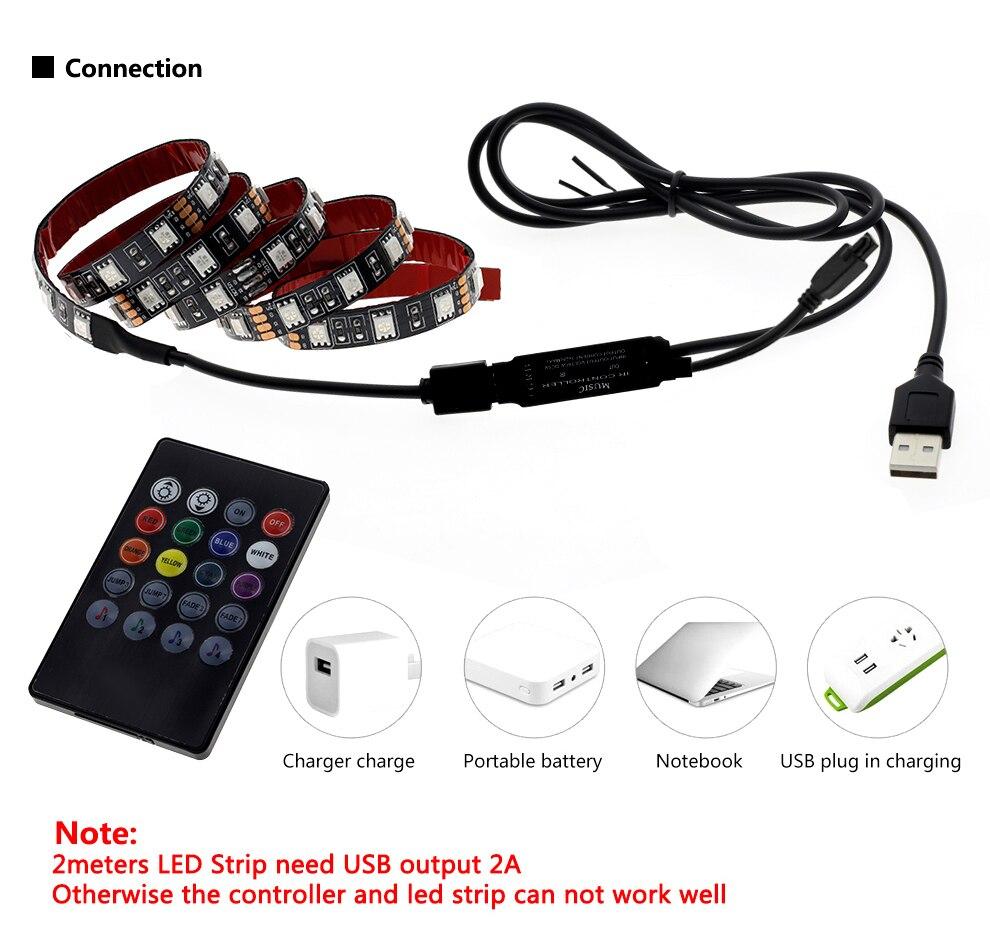 H69ab4c4f1e2d497daef1e95569789d7ez USB LED Strip 5050 RGB Changeable 5V Waterproof / No Waterproof 0.5m 1m 2m with USB Controller Set DIY TV Decoration LED Light.