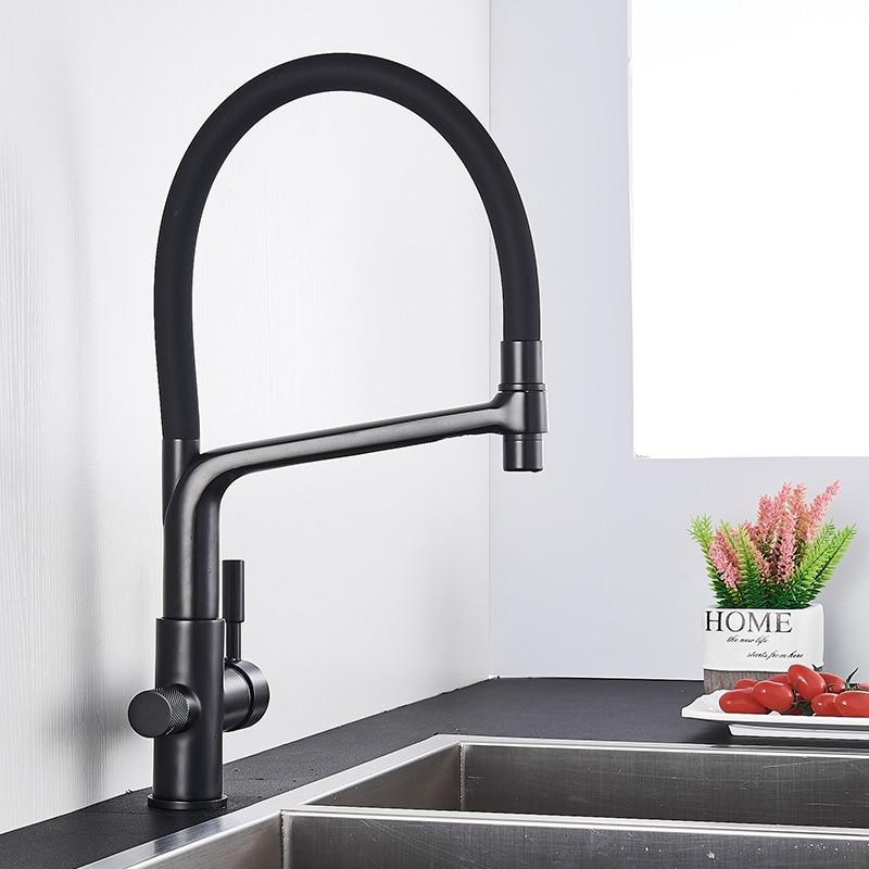 H69ab64ba827649cf87847deb9bd42be2b Rozin Purification Kitchen Faucets Black Pull Out Kitchen Water Filter Tap 3 Way Mixer torneira para cozinha de parede Crane