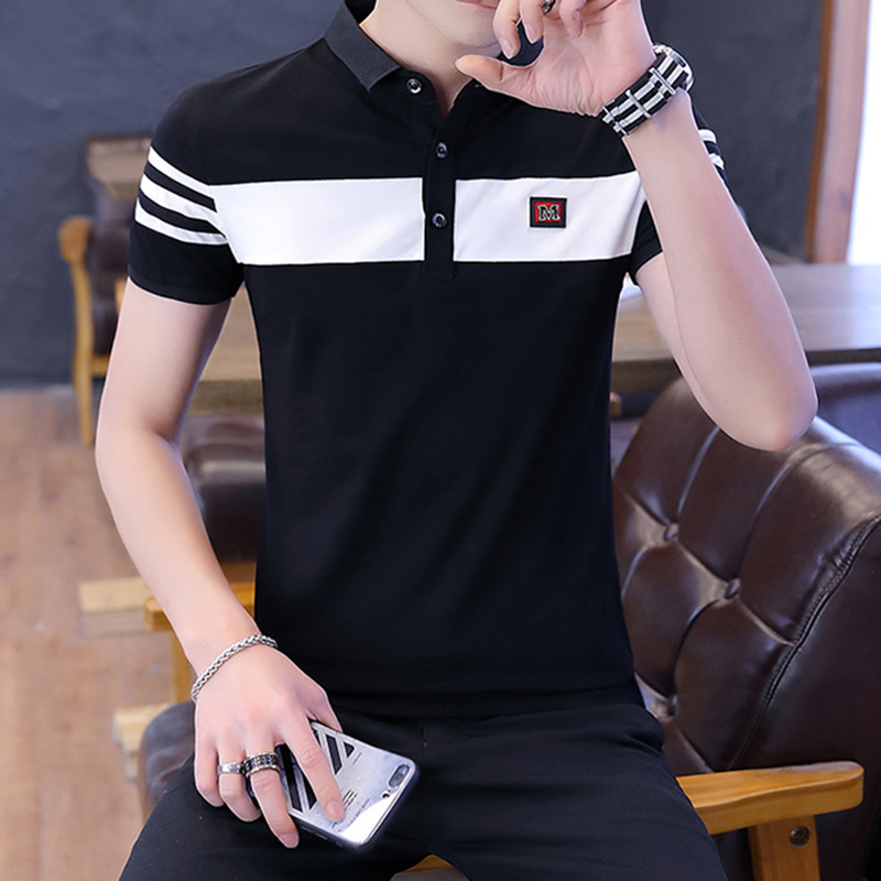 New Fashion Letter M Printed Men H Polo Shirt Lapel Collar Slim Fit Tops Casual Classic brand Male Polo Shirts M 3XL 100 Cotton in Polo from Men 39 s Clothing