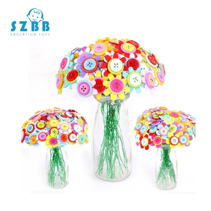 Sz Steam Button Design Bouquet Kids DIY Handcraft Flower Toy Educational Buttons Threading Handmade Flowers Bough-pot Toy