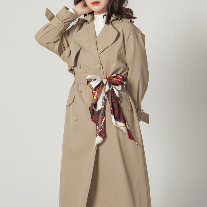 LANMREM New Fashion Autumn Full Sleeve Silk Tie Vintage Elegant Long Length Wild Full Sleeve Lapel Collar Women's   Trench   AI928