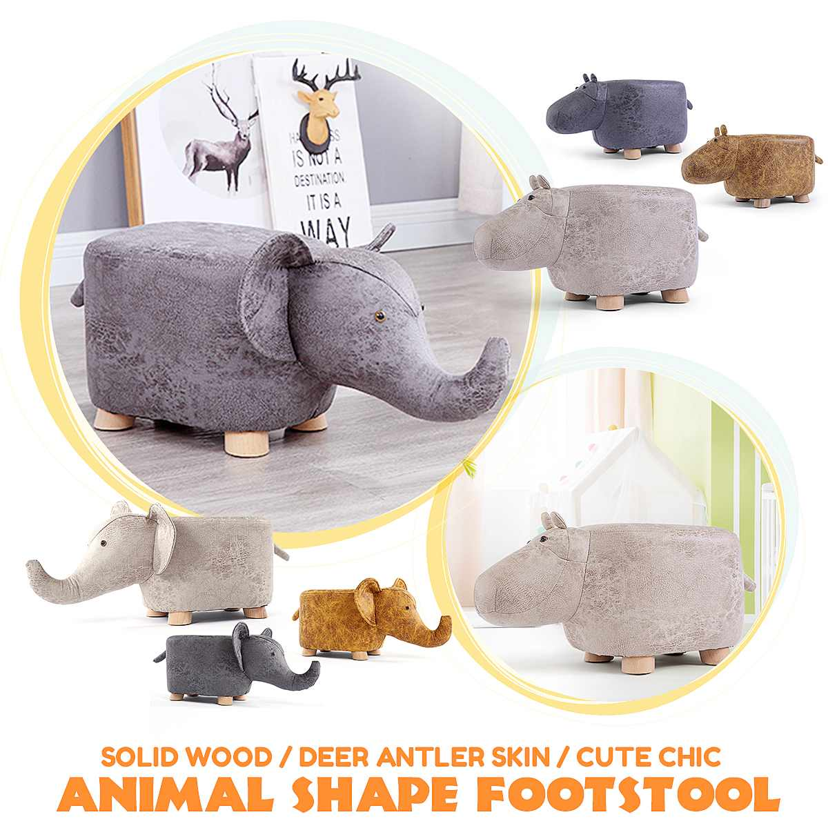 NEW Elephant Hippo Animal Shape Solid Wood Be Home Baby Cute Cartoon Sofa Stool Elephant Children Small Bench