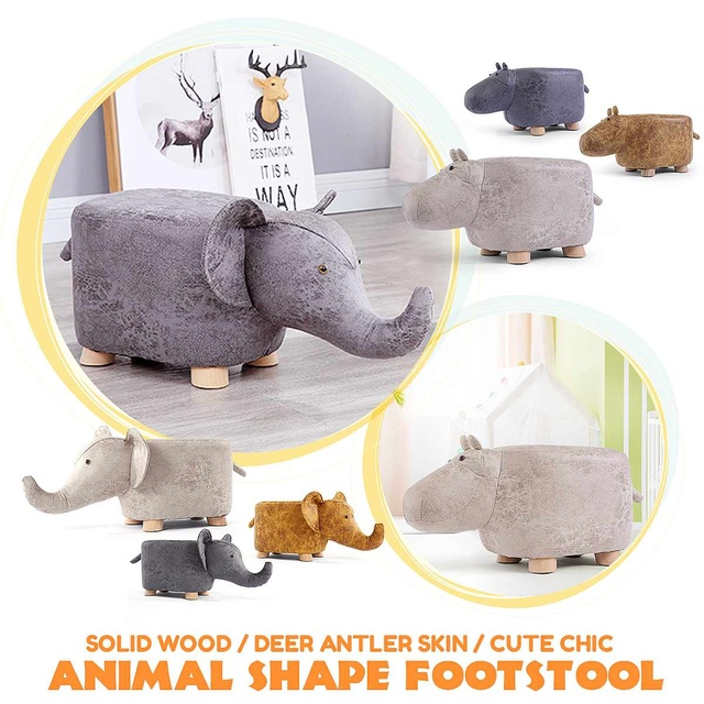 NEW Elephant Hippo Animal Shape Solid Wood Be Home Baby Cute Cartoon Sofa Stool Elephant Children Small Bench