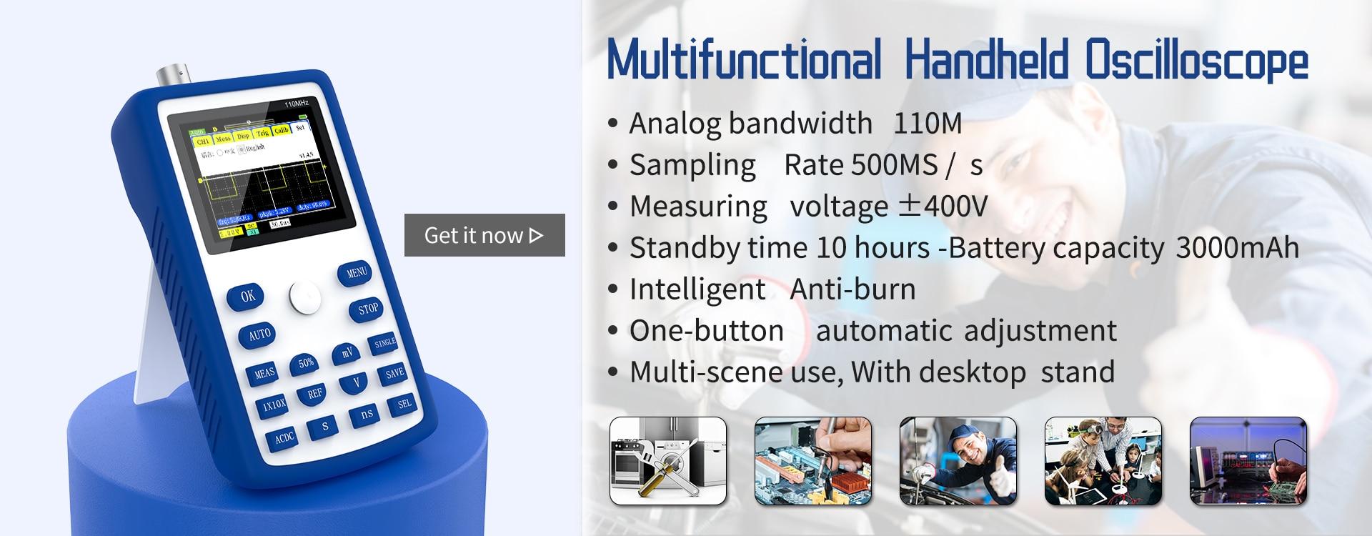 Fafeicy Digitales Oszilloskop DIY-Handheld-DSO FNIRSI-150 15001K 0-200 KHz 5 mV//Div-20 mV//IDV mit einem 2,4-Zoll-Farb-TFT-Bildschirm