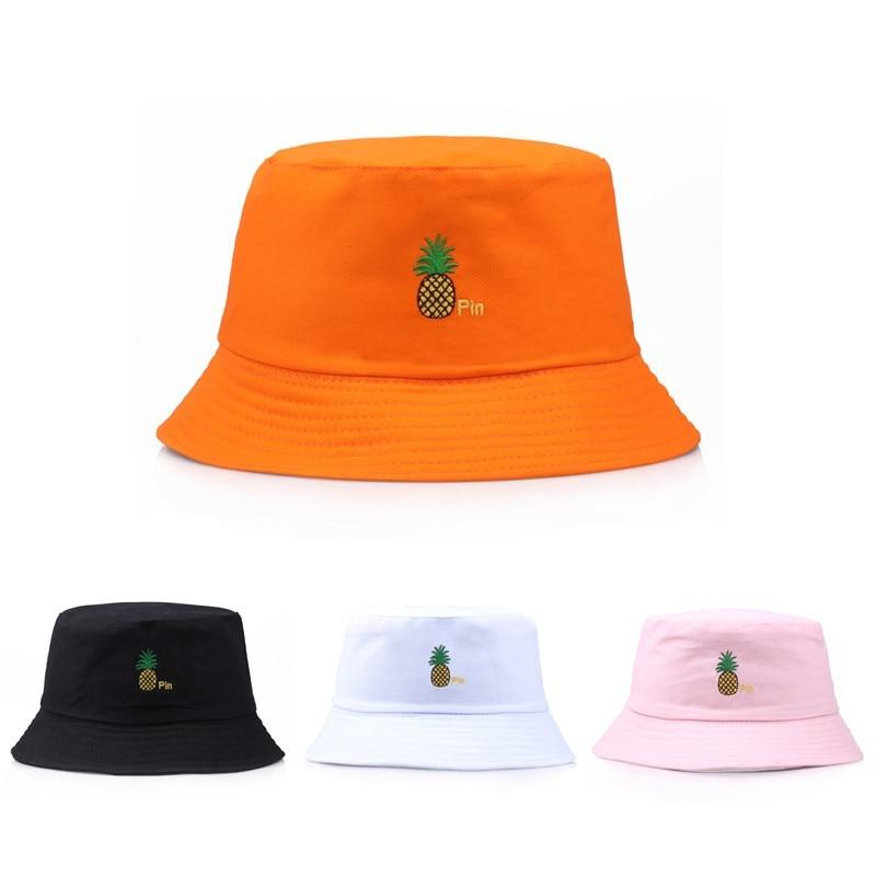 Bucket Hat Men Women Summer Bucket Cap Banana Pineapple Print Yellow Hat Bob Hat Hip Hop Fishing Fisherman Hat