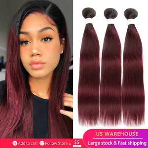 Image 1 - Brazilian Straight Human Hair Weave Bundles 1B 99J/Burgundy Ombre Red Human Hair Bundles Non Remy Human Hair Extension 1 Piece