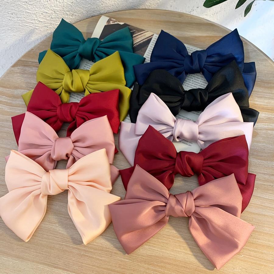 AOMU Fashion Ribbon Hairgrips Bow Barrette For Women Girls Satin Trendy Ladies Hair Clip New Cute Barrette Hair Accessories