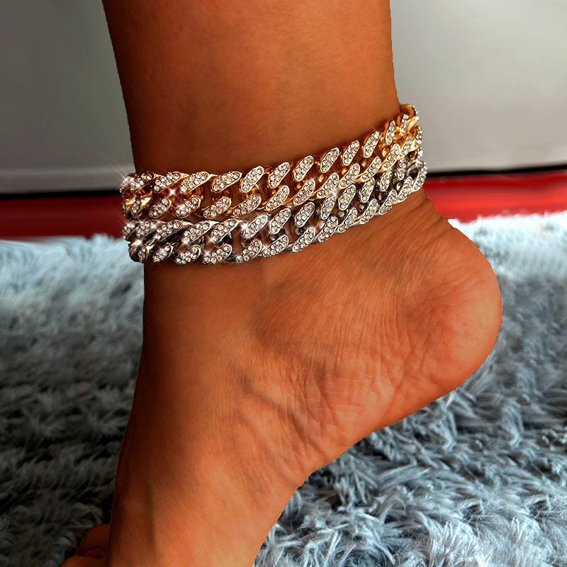 New Fashion Chunky Metal Chain Anklet For Women Men Rhinestone Gold Silver Color Cuban Foot Bracelet Punk Hip Hop Rock Jewelry