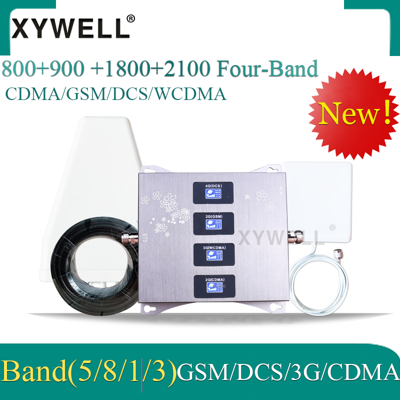 New!! 800 900 1800 2100 Mhz Cell Phone Booster Four-Band GSM Mobile Signal Booster 2G 3G 4G LTE Cellular Repeater GSM DCS WCDMA