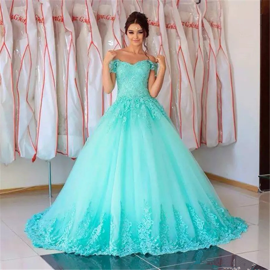 Formal Sweetheart Turquiose Off The Shoulder Long Quinceanera Dresses 2019 Ball Gown Floor-Length Vestidos De 15 Anos 16 Dresses