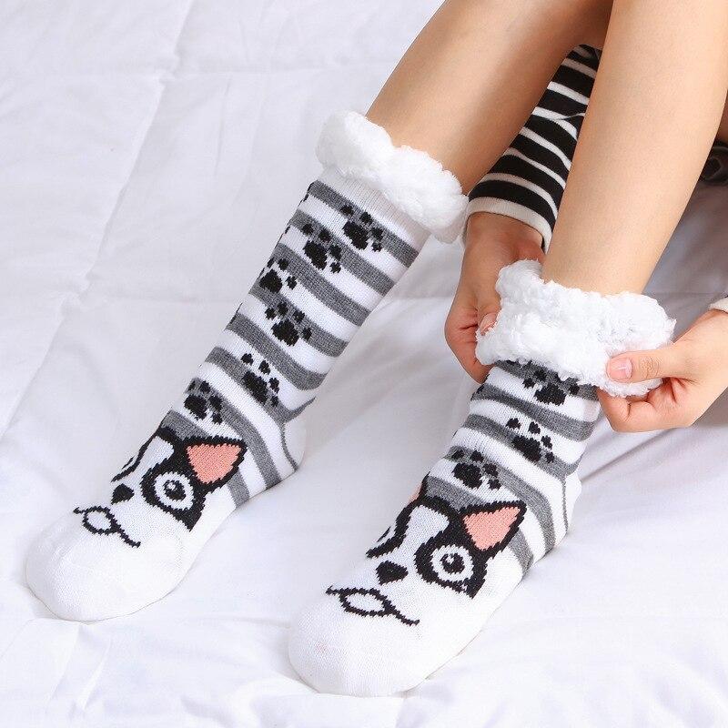 Women Winter Christmas Socks Cotton Print Thicken Anti-slip Warm Fleece Socks Female Harajuku Ladies Funny Socks Streetwear 2019