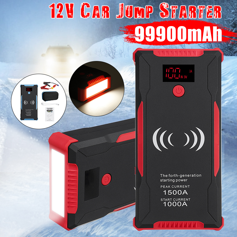 99900mAh Car Jump Starter Power Bank 1500A Car Battery Booster Charger 12V Starting Device Petrol Diesel Car Starter Buster