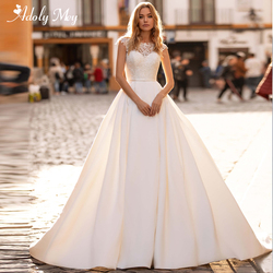 Adoly Mey Romantic Scoop Neck Illusion Back A-Line Wedding Dress 2020 Luxury Beaded Cap Sleeve Appliques Court Train Bridal Gown
