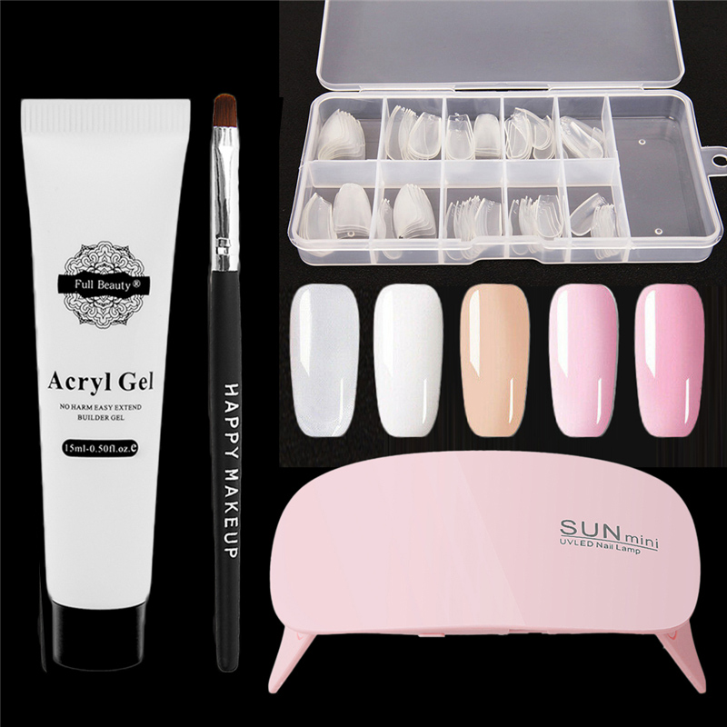 4pcs/set Polygel Nail Art Extension UV Poly Gel + French Ballerina False Nails Form + Nail Dryer LED Lamp + Nail Brushes Set Kit