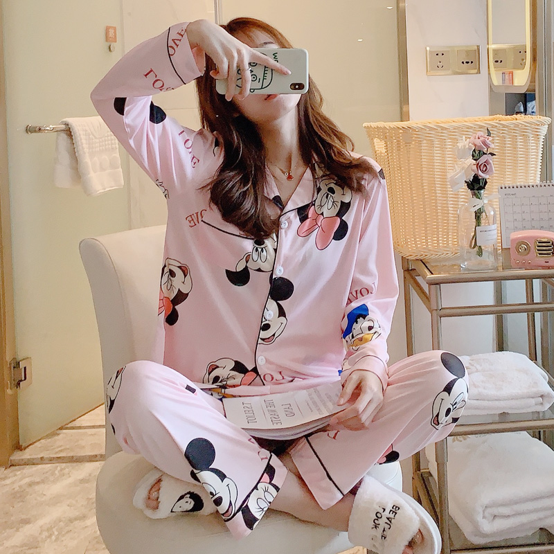 Cartoon Pajamas For Women Mickey Mouse Print Funny Pajama Sets For Woman Spring Long Sleeve And Trousers 2 Pcs