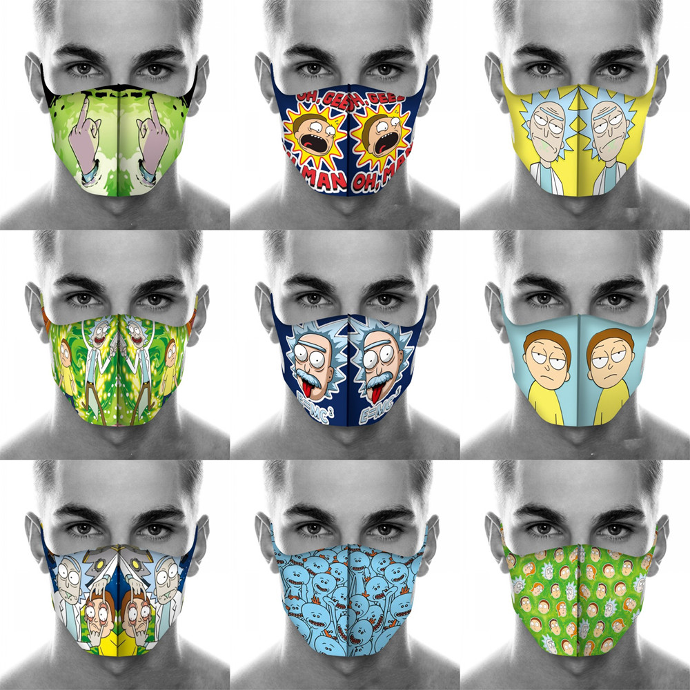 Cartoon Rick And Morty Mouth Mask Breathable Unisex Face Mask Reusable Anti Pollution Face Shield Wind Proof Mouth Cover