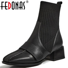 Winter Shoes Boots Genuine-Leather Square Toe Female Fashion Woman FEDONAS Ankle Working