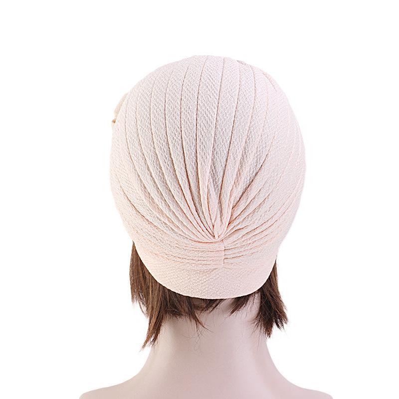 Image 5 - Женская мусульманская эластичная повязка на голову, шарф, двойная  большая шапочка с цветком, головной убор, модный тюрбан с оборками,  шапкаЖенские Skullies и шапочки