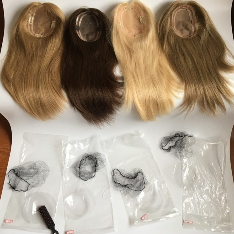 Mono Base Human Hair Pieces For White Women Fashion Hantied Jewish Topper With Free Shipping