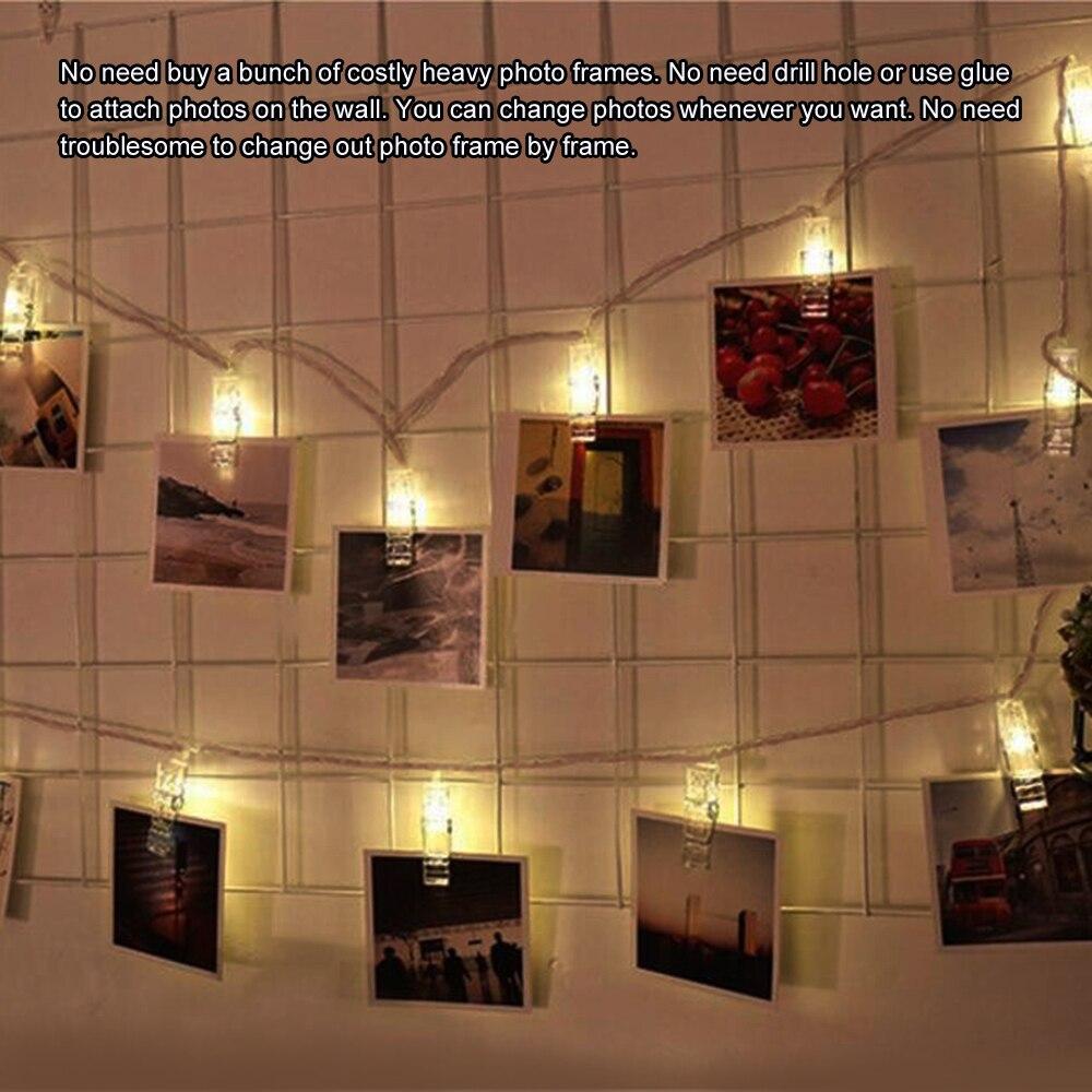 Рождество 50 клипов гирлянда со светодиодными лампочками фото клип сказочная Гирлянда Свет Мини DIY прищепка USB питание для дома Свадебная вечеринка Dec