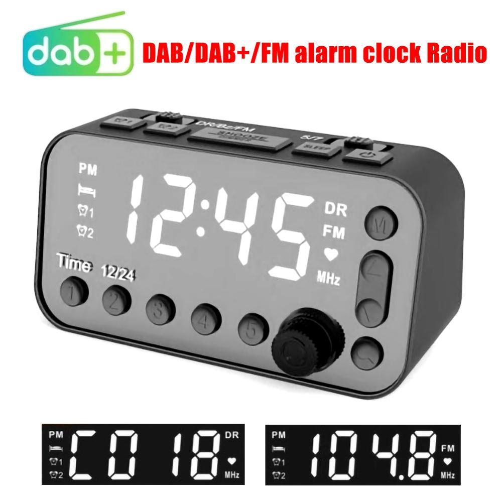 Reproductor de Radio y MP3 DAB/FM de uso sencillo con sonido estéreo y alarma Dual, doble USB, DC 5V, 2a, MP3WMA, reproductor de Radio para coche