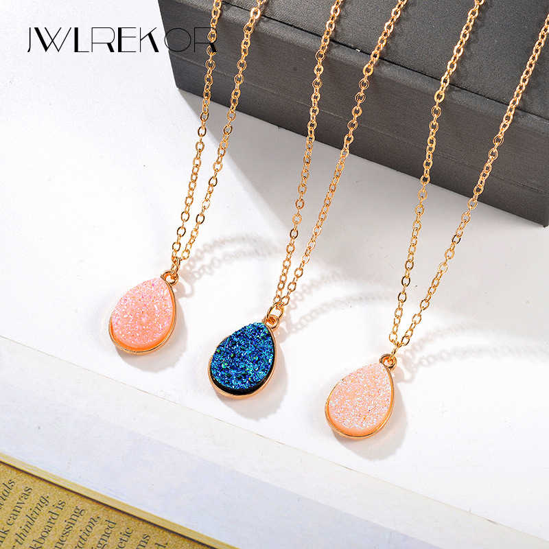 Collier Femme Charm Drop shape Stone Necklaces & Pendants for Women Crystal Bud Necklace Fashion Jewelry Kolye Collares