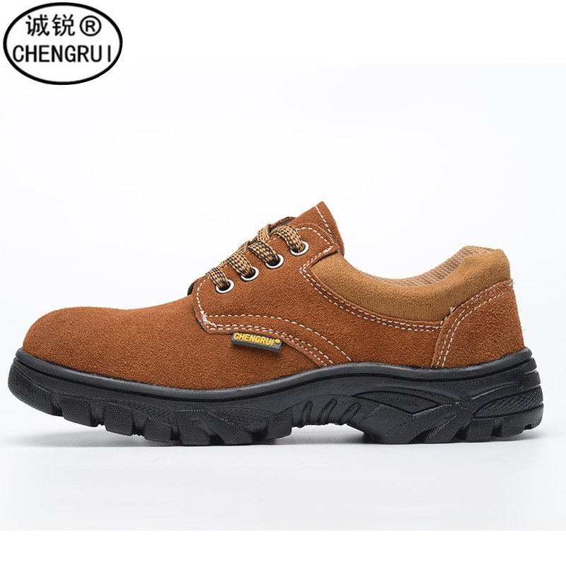 Safety Shoes Smashing Stab Smashing Safety Shoes Brown Suede Cowhide Acid And Alkali Resistant Protective Shoes