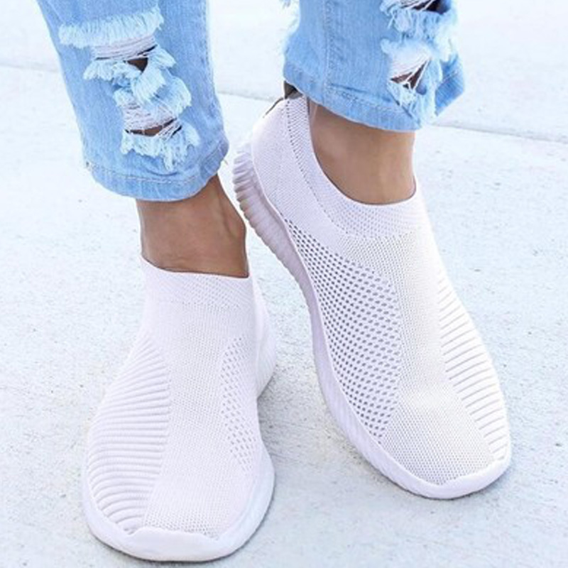 Women Sneaker Air Mesh Soft Female Knitted Vulcanized Shoes Casual Slip On Ladies Flat Shoes Walking Footwear Zapatillas Mujer