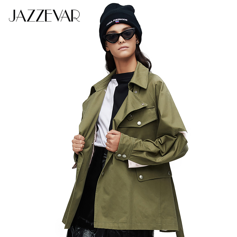JAZZEVAR 2019 New arrival autumn   trench   coat women green color fashion cotton double breasted short outerwear high quality9017-1