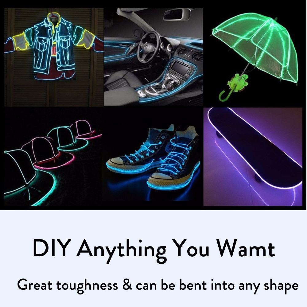 H69ad229f974b4eeb9c719941200a417bL EL Wire car led strip light for Neon Party decoration light bicycle Dance lamp 12V waterproof USB strips lamps interior flexible