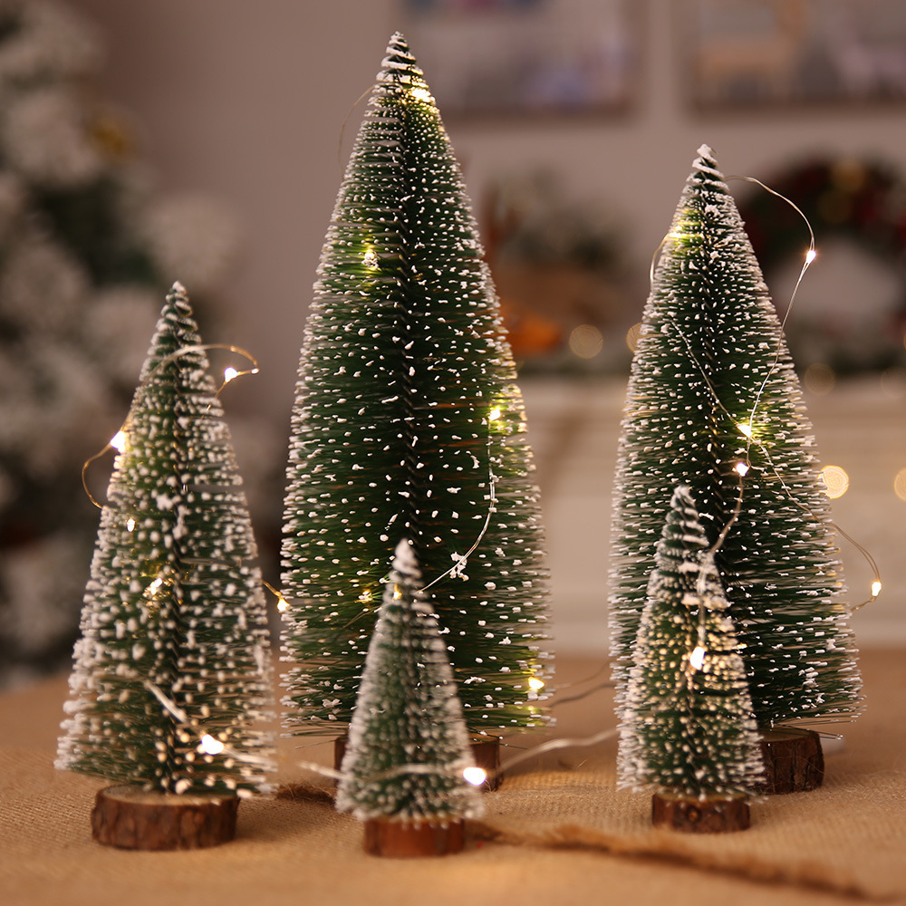 Xu Liang Stained White Cedar Small Christmas Tree Mini Pine Needle Flocked Christmas Tree Christmas Ornaments Desktop Ornaments
