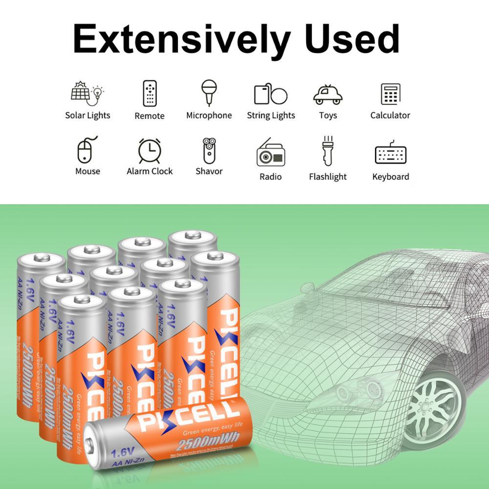 Купить 12 шт pkcell nizn aa аккумуляторная батарея ni zn 2500mwh 16