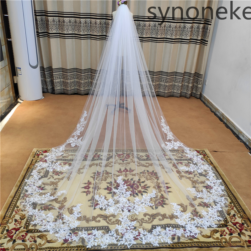 2021 Real Photo 3m One Layer Wedding Veil With Comb White Lace Edge Bridal Veils Ivory Appliqued Cathedral Wedding Veil