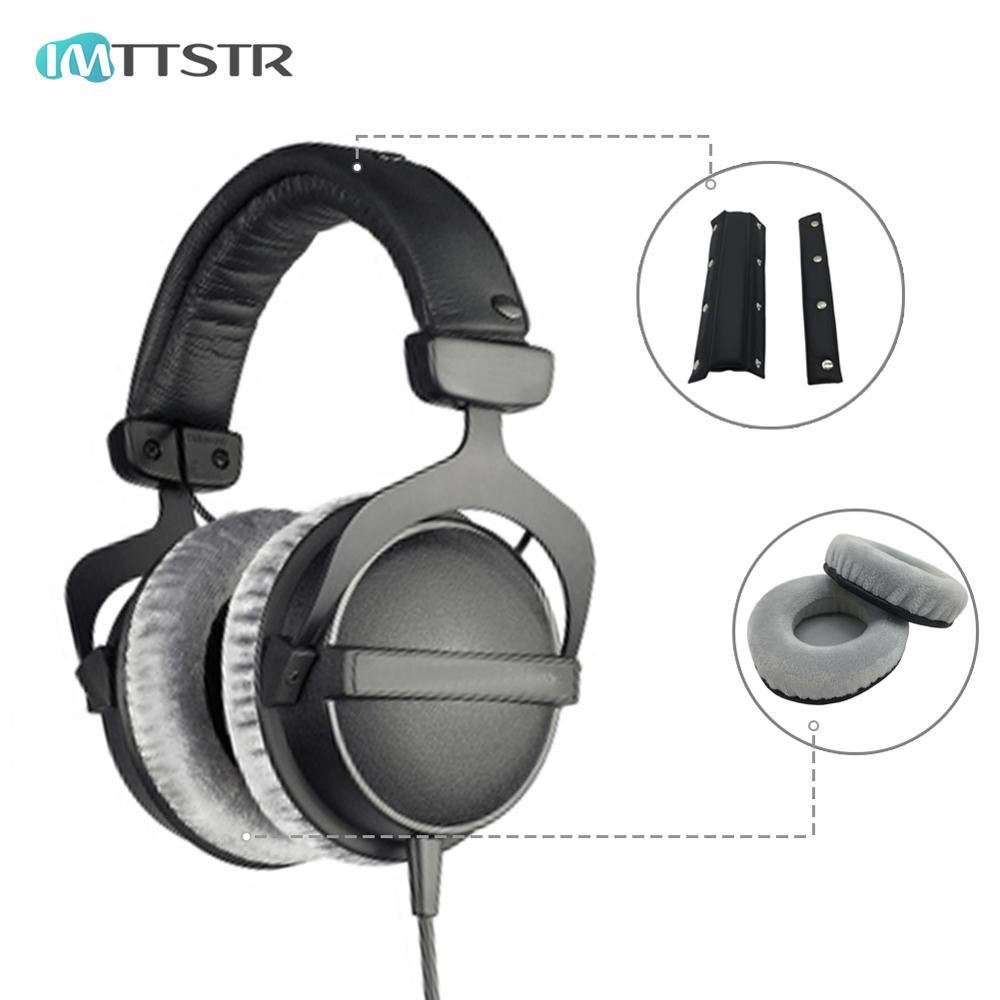 IMTTSTR Universal Headband Cushion Bumper Cover Cups Replacement Ear Pads Earpads For Beyerdynamic DT770 DT880 DT990 Earphones