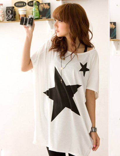 T Shirt Women 2020 Stars Print cross-border Trade Patterns plus-size Loose Cotton Short Sleeve T-shirt Tops Tshirt Vestidos 2