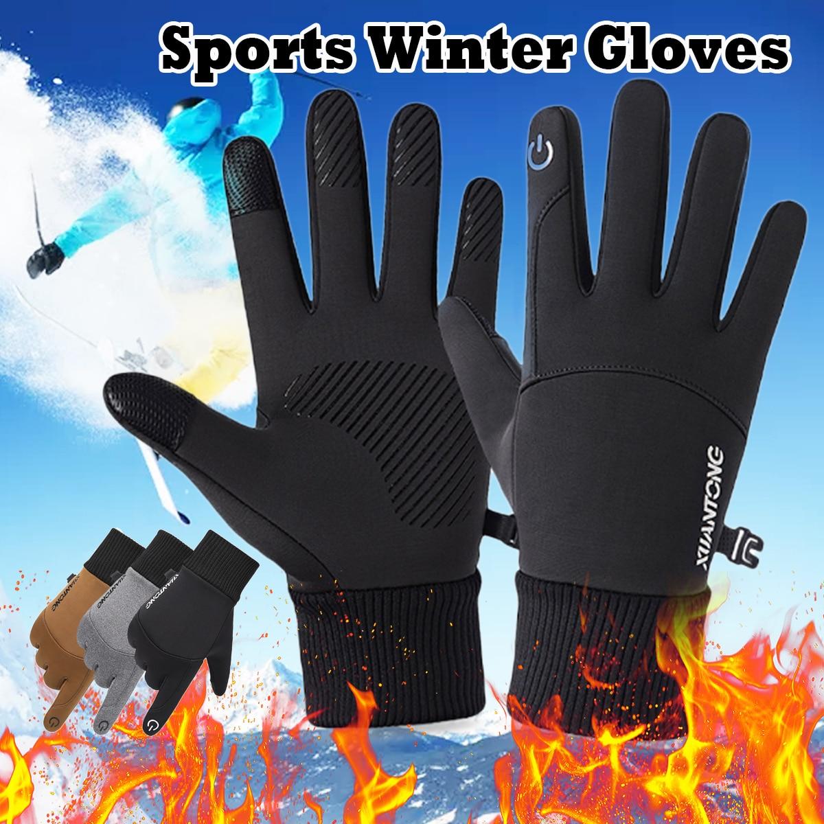 Зимние теплые лыжные перчатки для мужчин и женщин, флисовые перчатки для сенсорного экрана и сноуборда, водонепроницаемые уличные перчатки...