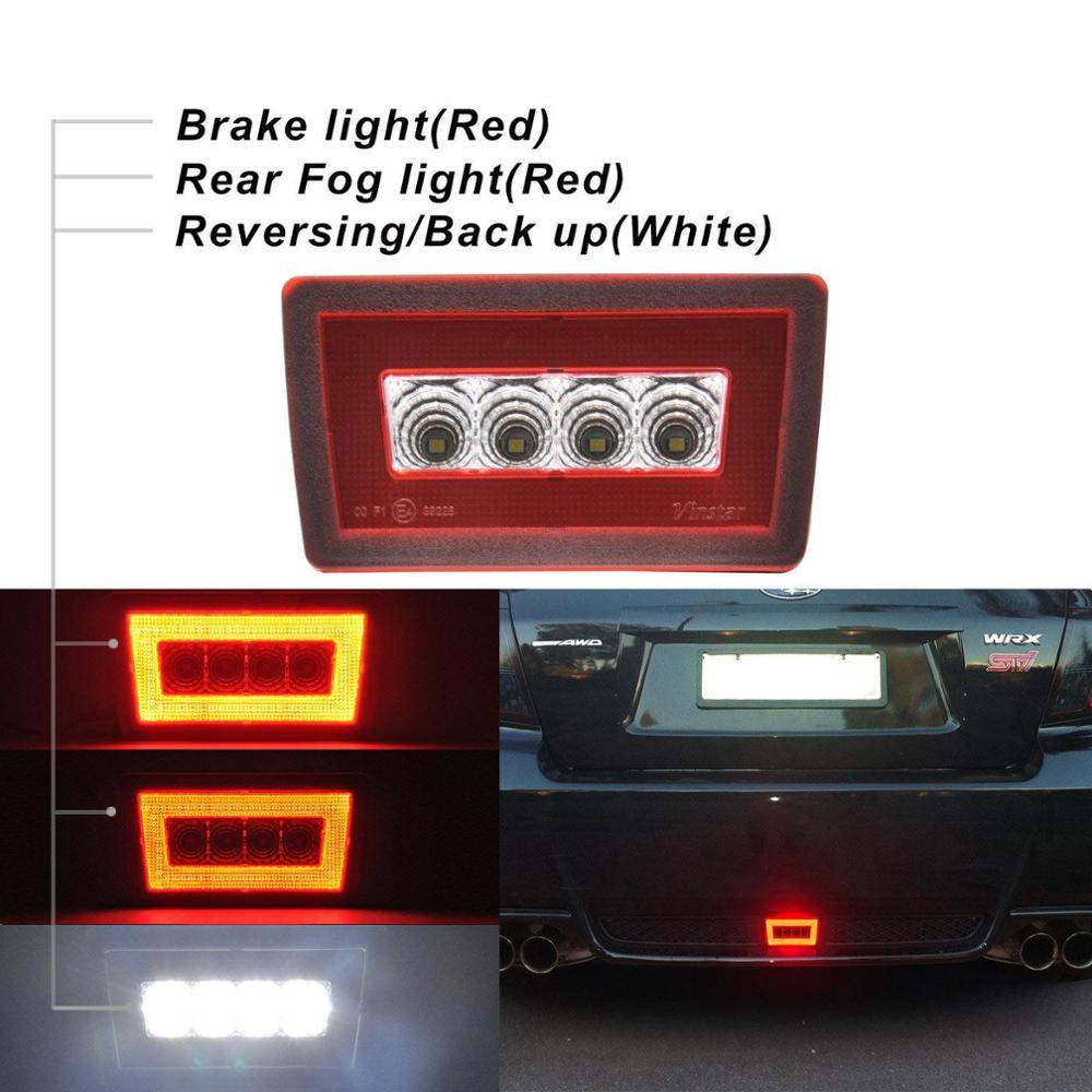 1pc F1 Style Red Lens LED Rear Fog Lamps//Brake Tail Lights For Subaru WRX STi XV
