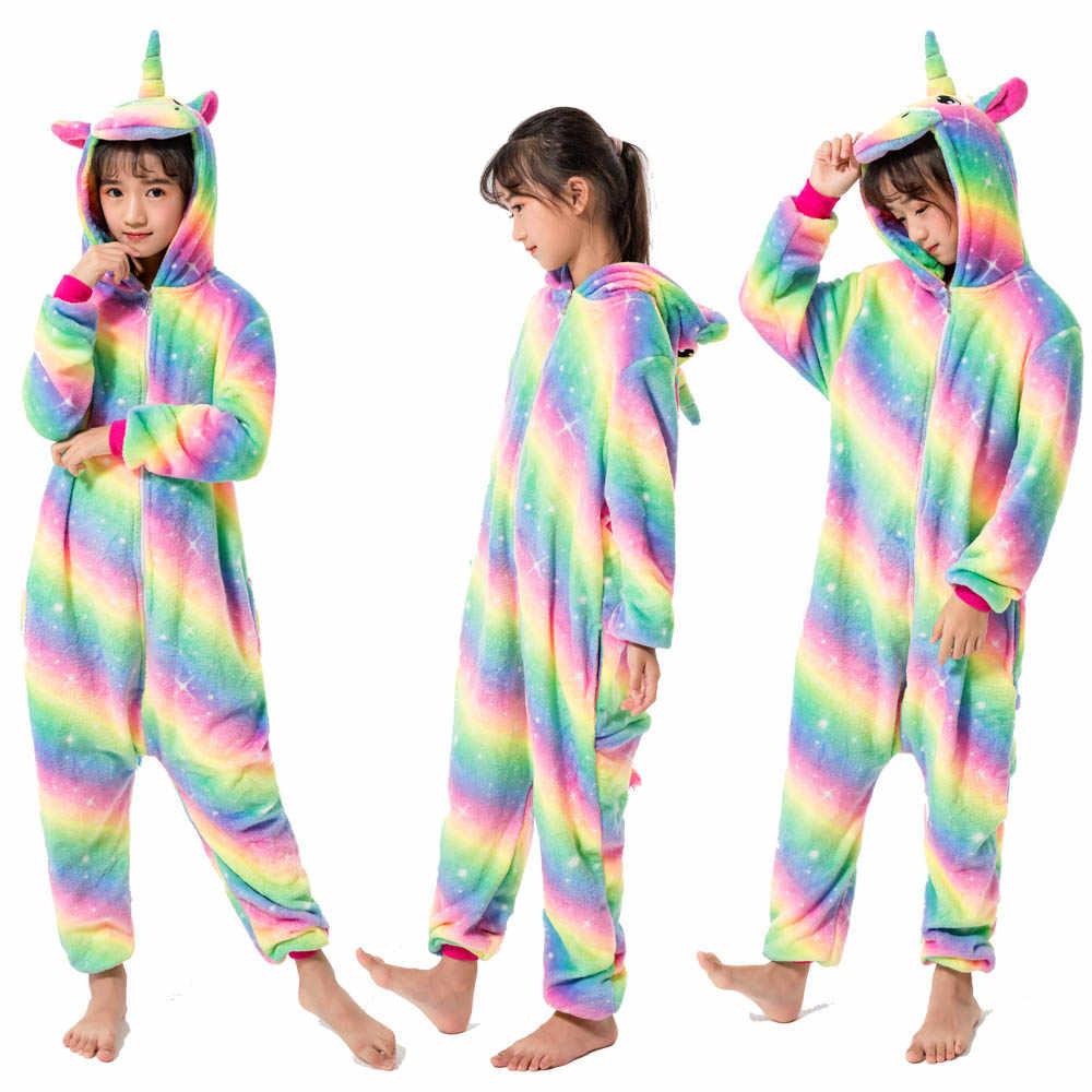 フランネル子供暖かい冬パジャマ子供オーバーオール女の子ユニコーン pijamas 男の子着ぐるみパンダパジャマための 4 6 8 10 12 年の少年
