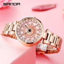 Casual Frauen Uhren Edelstahl Band Wasserdicht Quarz Uhr Elegante Frauen Exklusive Armbanduhr SANDA Marke reloj mujer