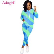 Adogirl Diagonal Stripe Color Block Women Tracksuit Long Sleeve Hooded Sweatshirt Top Pencil Pants Fashion Casual Two Piece Set