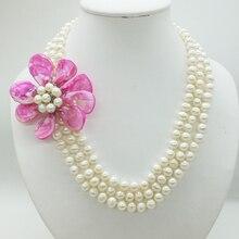 3 ряда 8-9 мм натуральная белая оболочка жемчуга цветок ожерелье, 18-22 дюймов