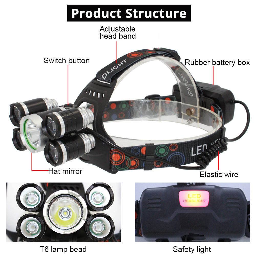 Super Bright 5xT6 LED Headlamp 4 Modes LED Headlight Outdoor Searchlight Fishing Light Camping Light Use 2 X 18650 Battery in Headlamps from Lights Lighting