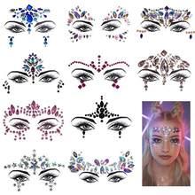 Pedras adesivas para brilho, pedrinhas adesivas para joias de rosto, cristal, gemas para o rosto, arte corporal, glitter, tatuagem, sobrancelha, beleza, maquiagem, joias
