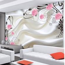 Dropship Customized Size Modern Design Non-woven 3D Silk Textured Rose Photo Mur