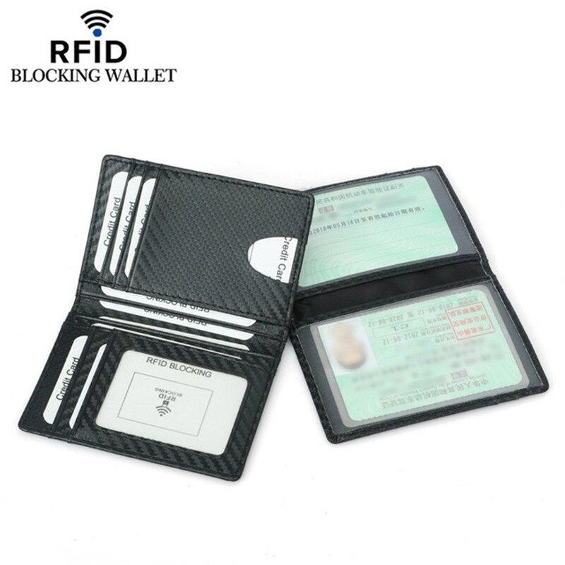 Black Carbon Fiber Slim Credit Card Holder Thin RFID Wallets Pu Leather Driver License Cover Holder For Men Card Wallet