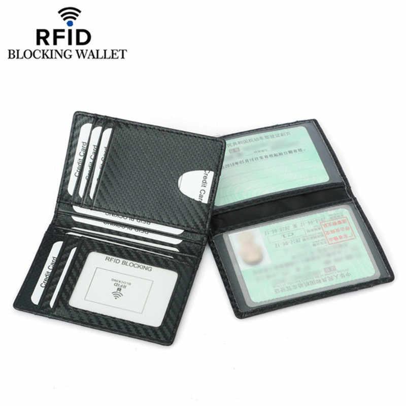 Siyah karbon Fiber ince kredi kart tutucu İnce RFID cüzdan Pu deri sürücü lisansı kapağı tutucu erkekler kart cüzdan
